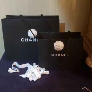 2 chanel empty bag  and ribbon